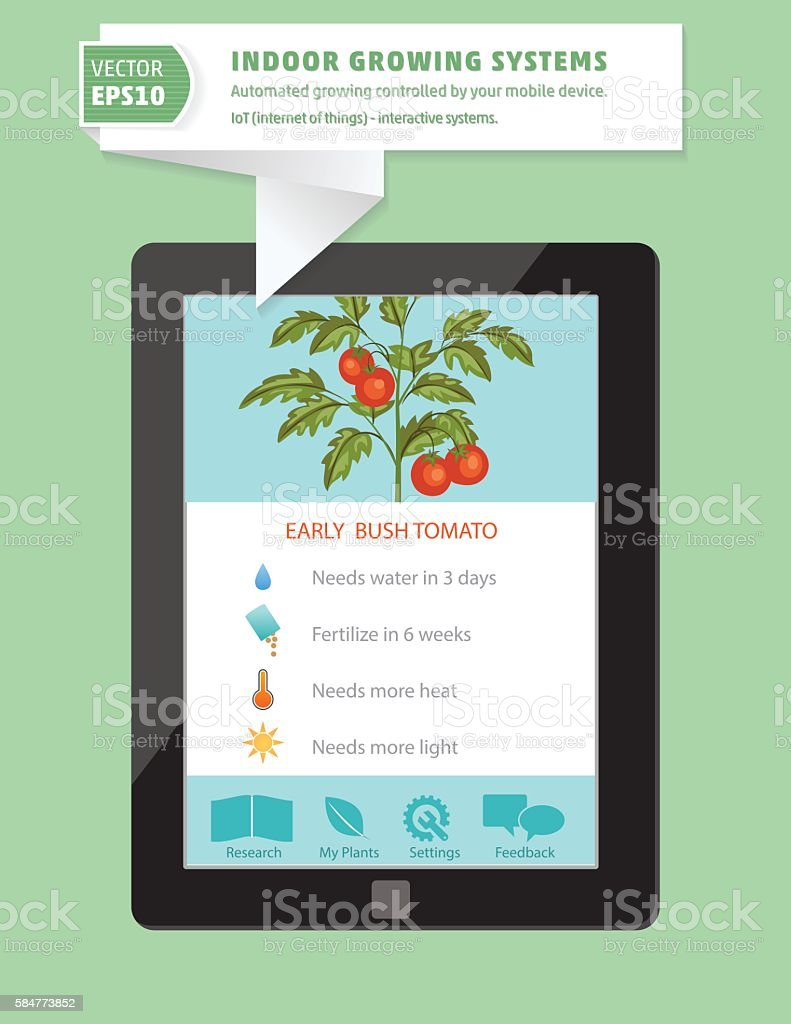 Iot Hydroponic Indoor Growing Systems Concept Stock Vector