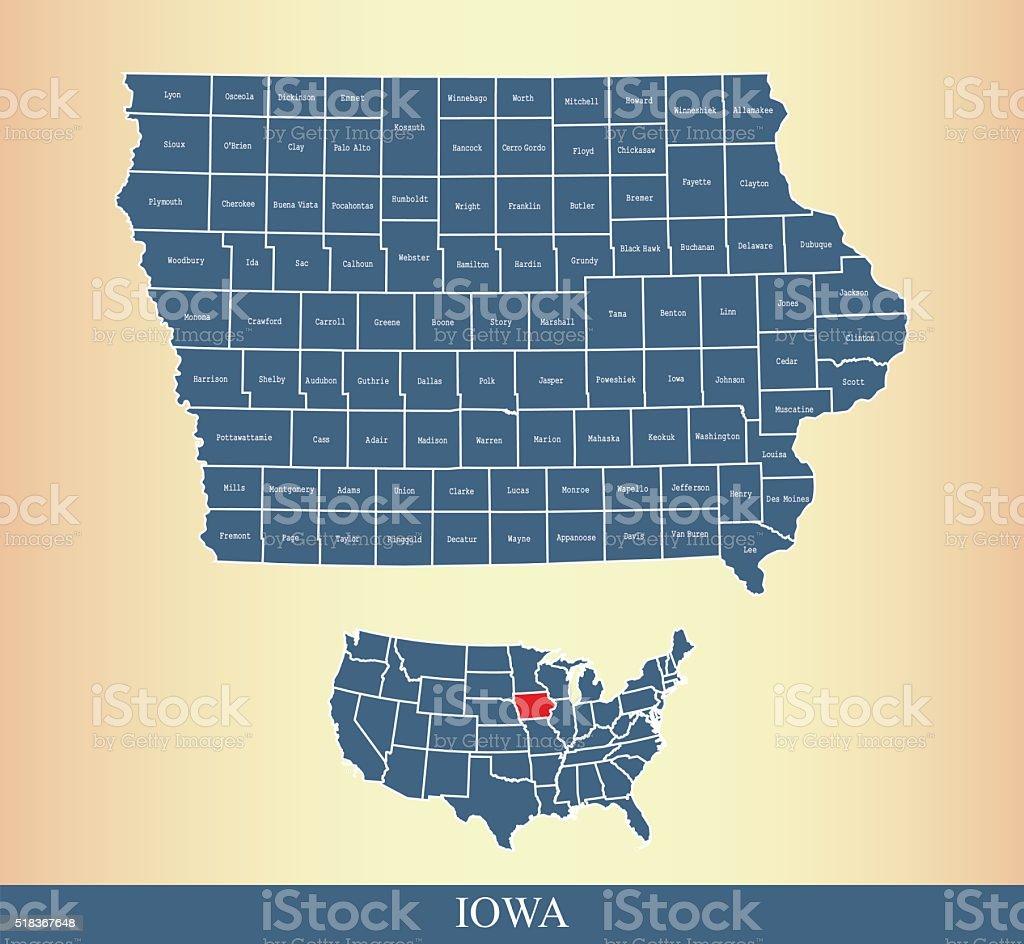 Iowa county map outline vector illustration in creative design vector art illustration