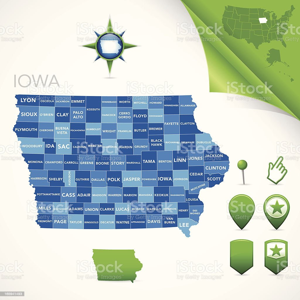 Iowa County Map royalty-free stock vector art