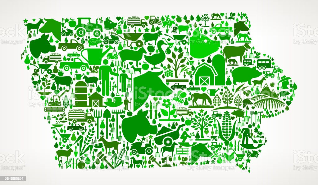 Iowa Farming and Agriculture Green Icon Pattern vector art illustration