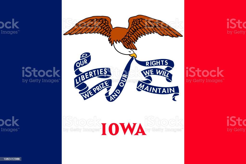Bandeira de Iowa. Ilustração em vetor. Estados Unidos da América. - ilustração de arte em vetor