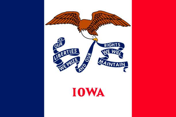 ilustrações, clipart, desenhos animados e ícones de bandeira de iowa. ilustração em vetor. estados unidos da américa. - bandeira union jack