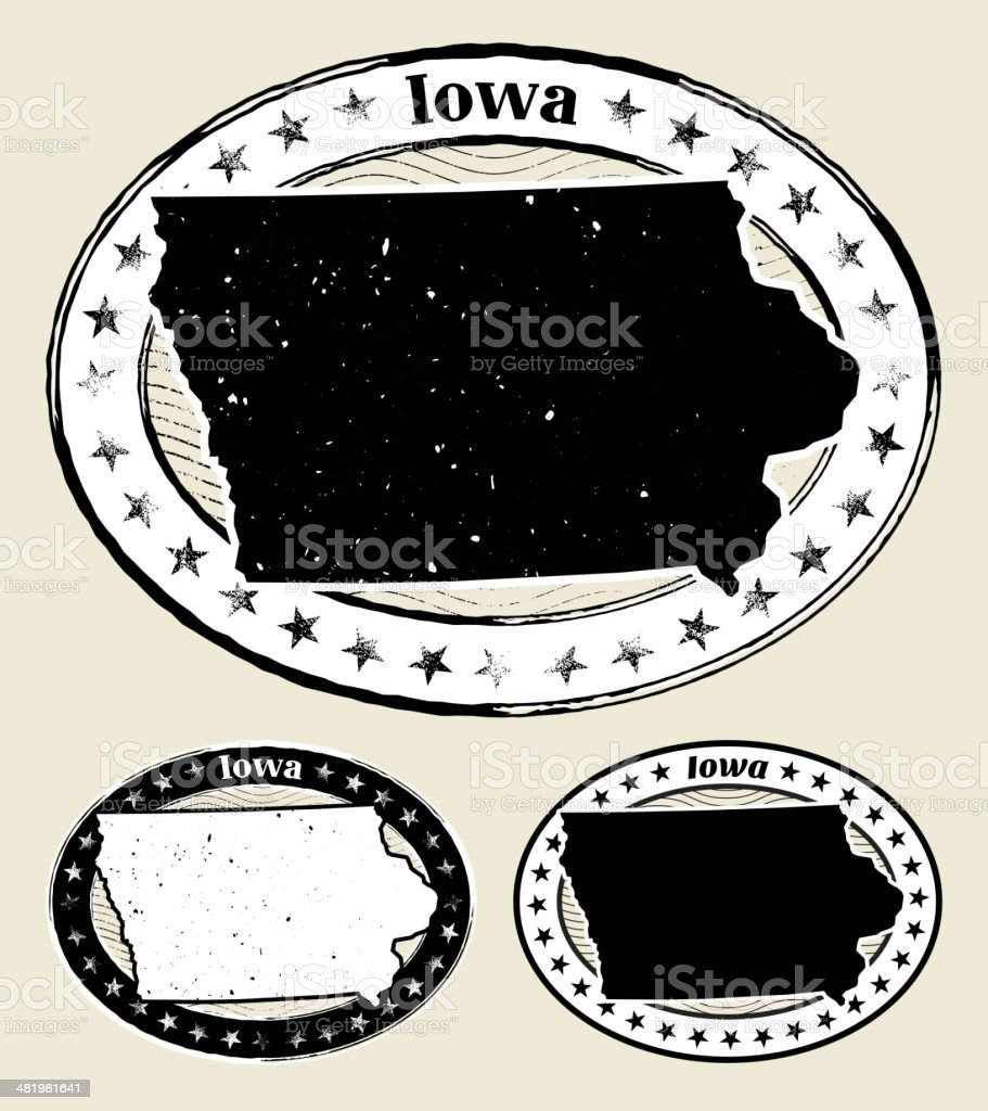 Iowa Grunge Map Black & White Stamp Collection royalty-free stock vector art