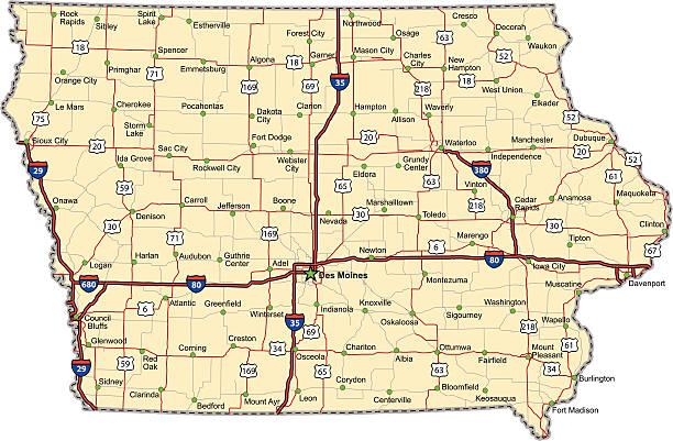 Iowa Highway Map vector art illustration