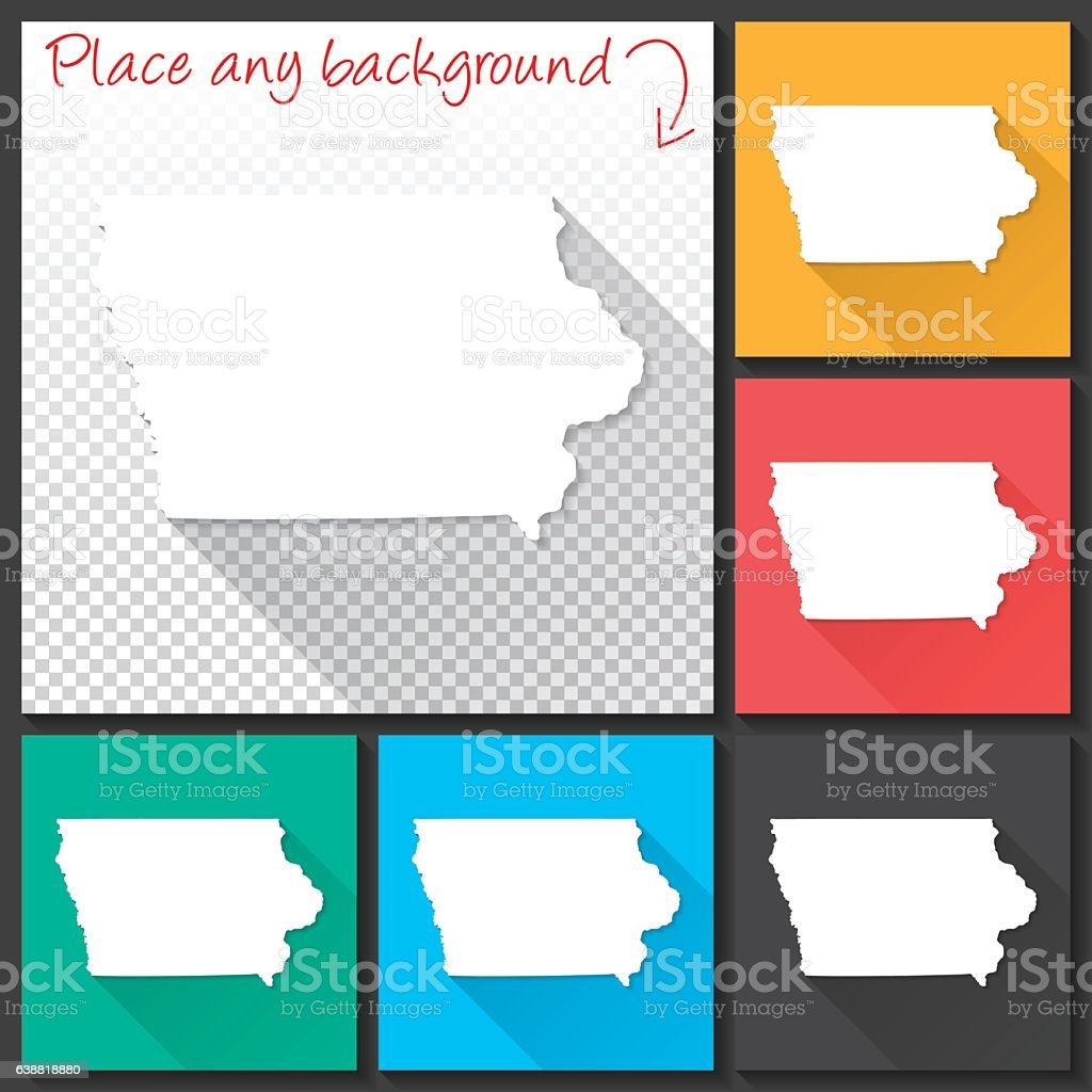 Iowa Map for design, Long Shadow, Flat Design vector art illustration