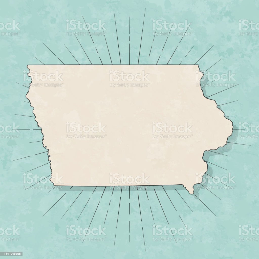 Iowa map in retro vintage style - Old textured paper - Royalty-free Abstract stock vector