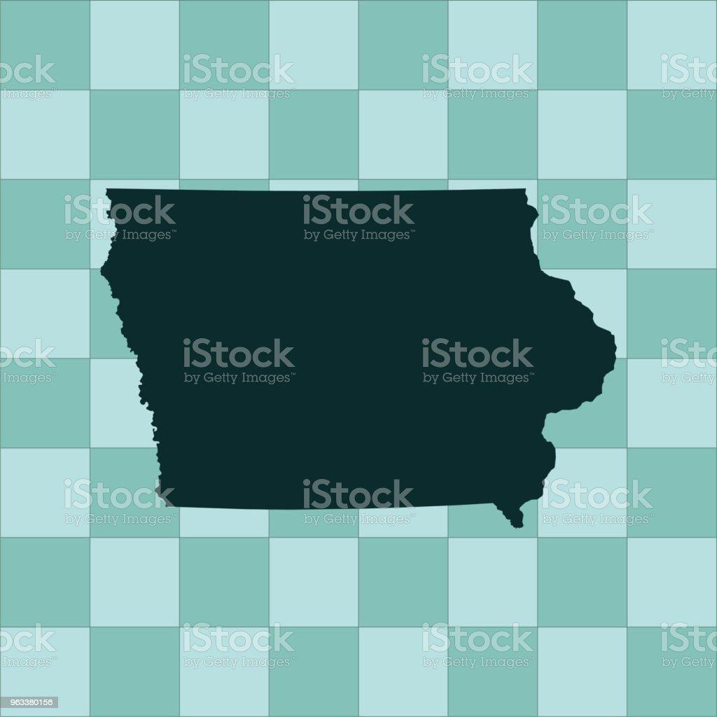 Iowa map - Grafika wektorowa royalty-free (Ameryka Północna)