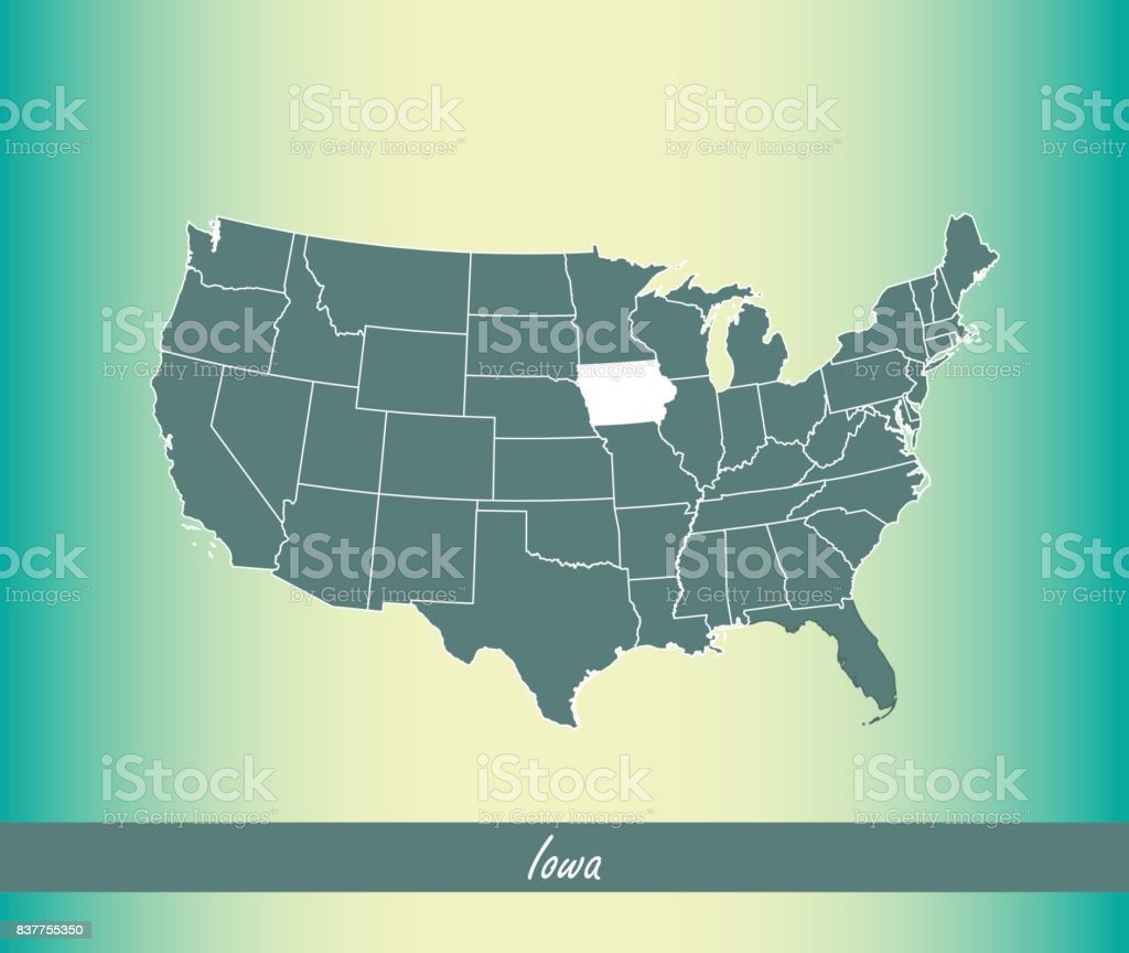 Iowa Map Vector Outline Illustration Highlighted In Usa Map Vector - Iowa in us map