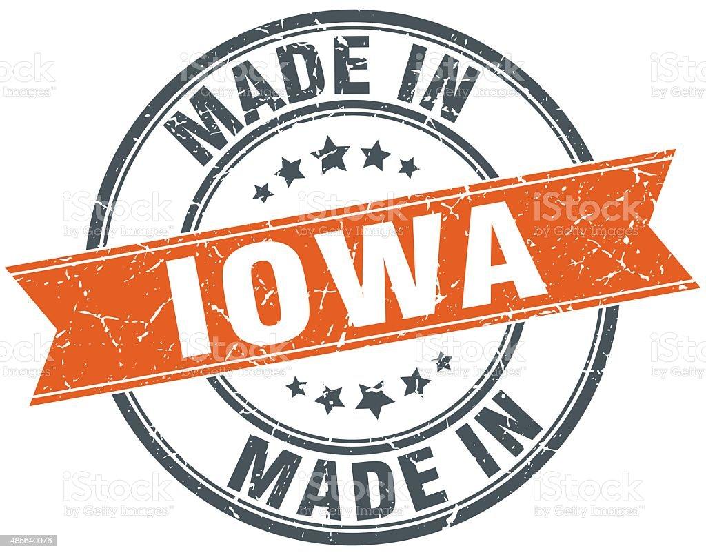 Iowa orange grunge ribbon stamp on white vector art illustration