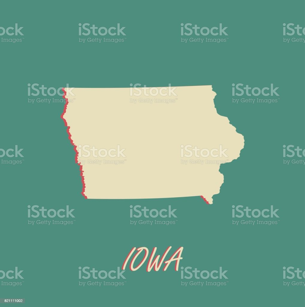 Iowa State Of Us Map Vector Outlines In A 3d Illustration