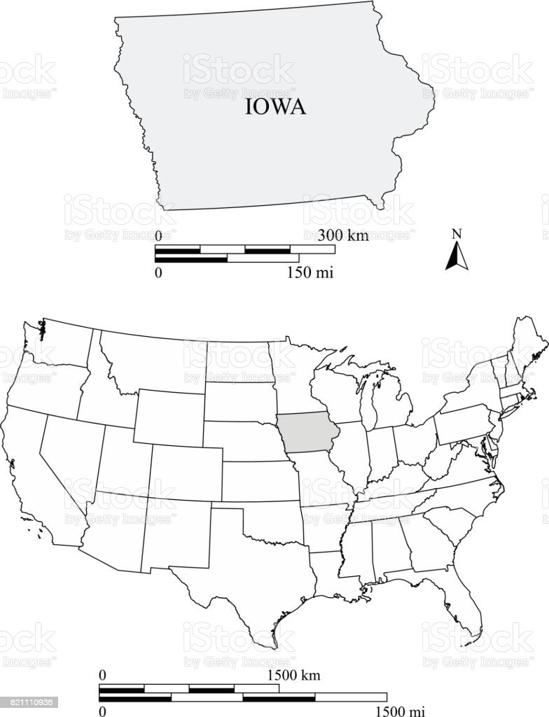 Iowa State Of Us Map Vector Outlines With Scales Of Miles And - Iowa on a us map