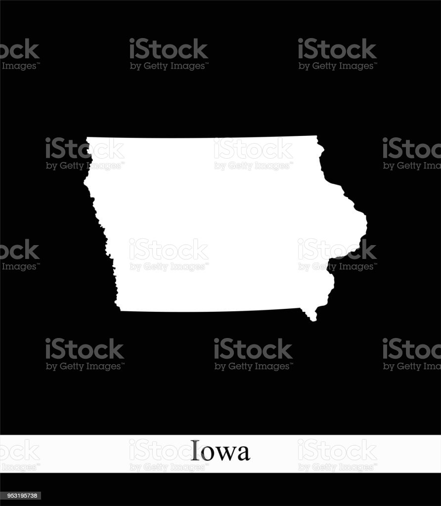 Iowa State Of Usa Map Vector Outline Illustration Black And ...