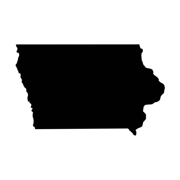 Iowa, state of USA - solid black silhouette map of country area. Simple flat vector illustration Iowa, state of USA - solid black silhouette map of country area. Simple flat vector illustration. 一本道 stock illustrations
