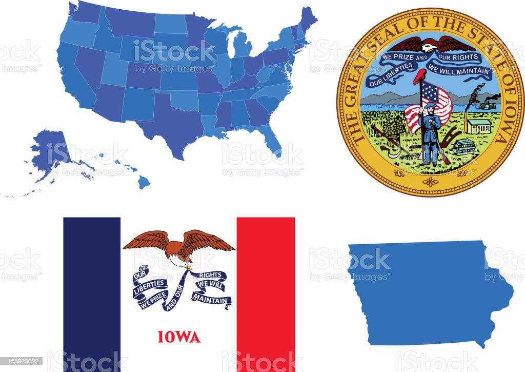 Iowa state set vector art illustration
