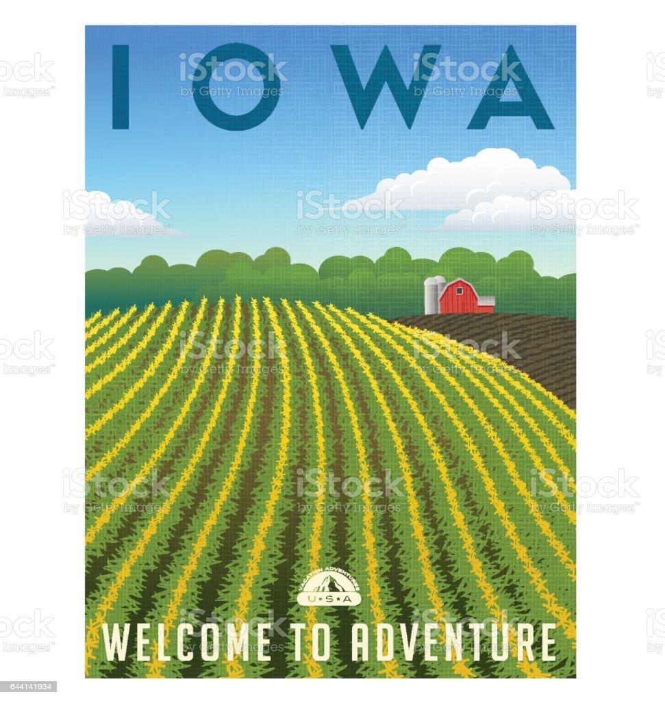 Iowa, United States retro travel poster or luggage sticker vector illustration