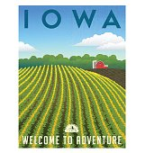 Iowa, United States retro travel poster or luggage sticker vector illustration