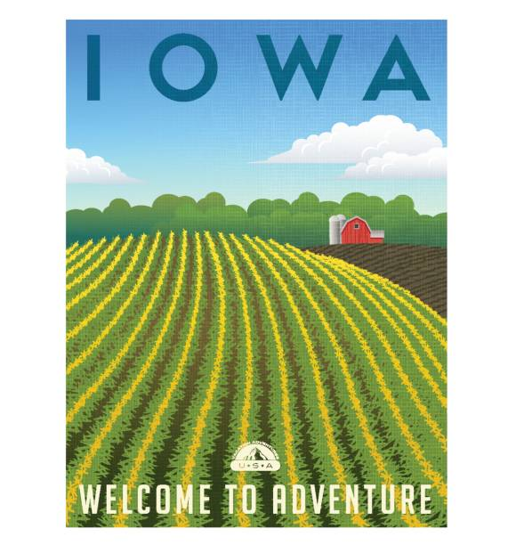 Iowa, United States retro travel poster or luggage sticker vector illustration Iowa, United States retro travel poster or luggage sticker vector illustration. Scenic corn field with red barn in the background. corn crop stock illustrations