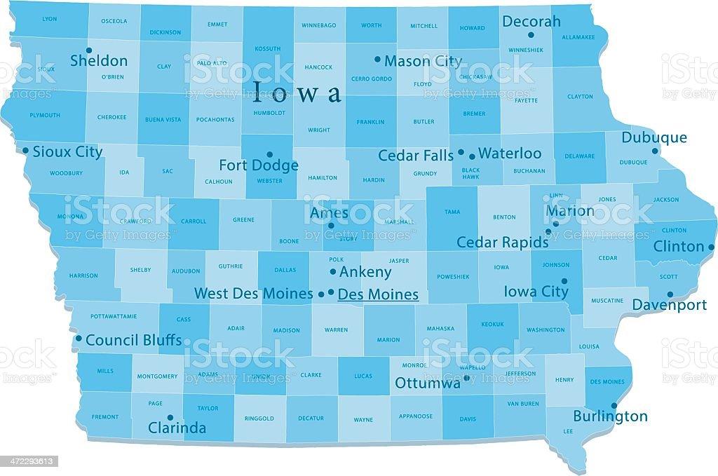 Iowa Vector Map Regions Isolated vector art illustration