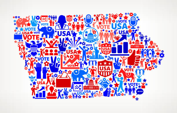 айова голосования и выборы сша отечественной значок рисунком - presidential debate stock illustrations