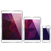 istock ipad iphone / triangular abstract background 685046648