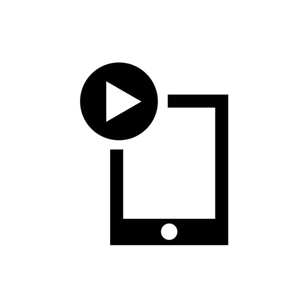 ipad video player icon vector sign and symbol isolated on white background, ipad video player logo concept - ipad stock illustrations