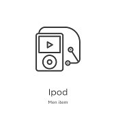ipod icon vector from men item collection. Thin line ipod outline icon vector illustration. Outline, thin line ipod icon for website design and mobile, app development