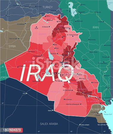 Irak country detailed editable map