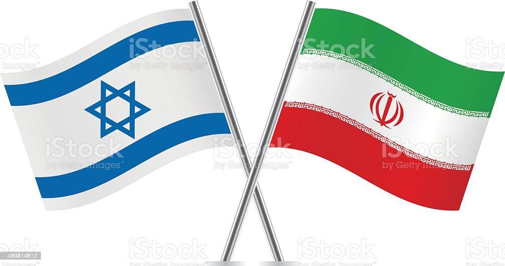 Irã, Israel flags. Vetor. - ilustração de arte em vetor