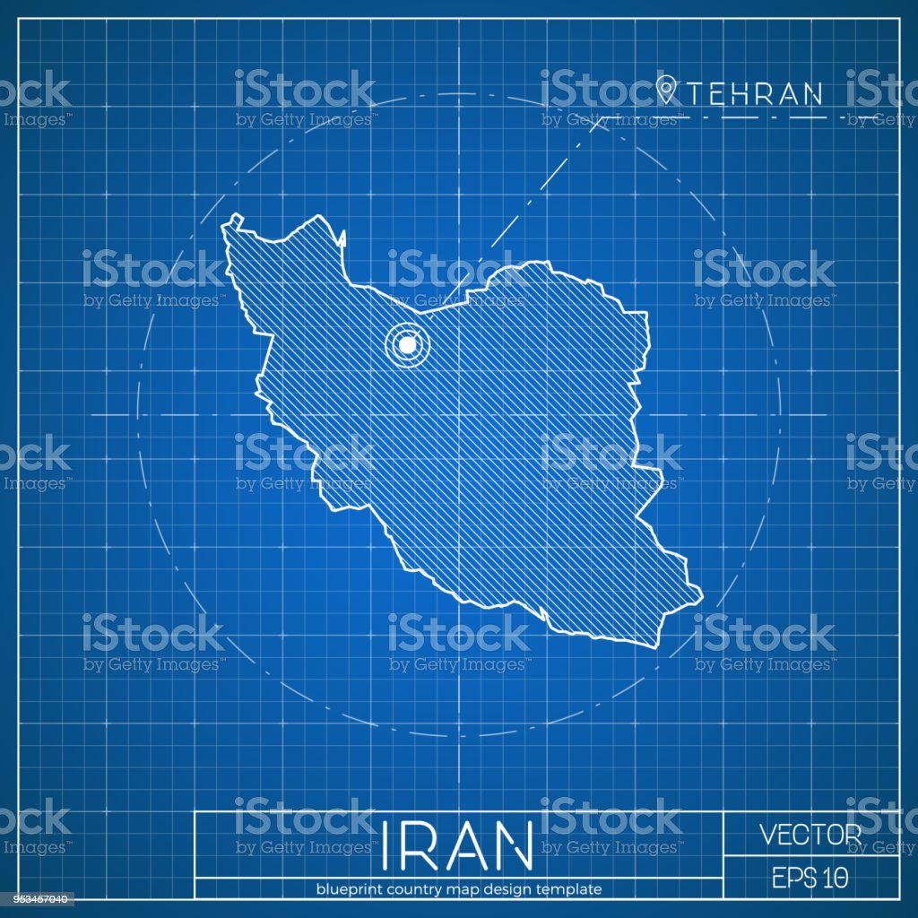 Iran blueprint map template with capital city stock vector art iran blueprint map template with capital city royalty free iran blueprint map template with malvernweather