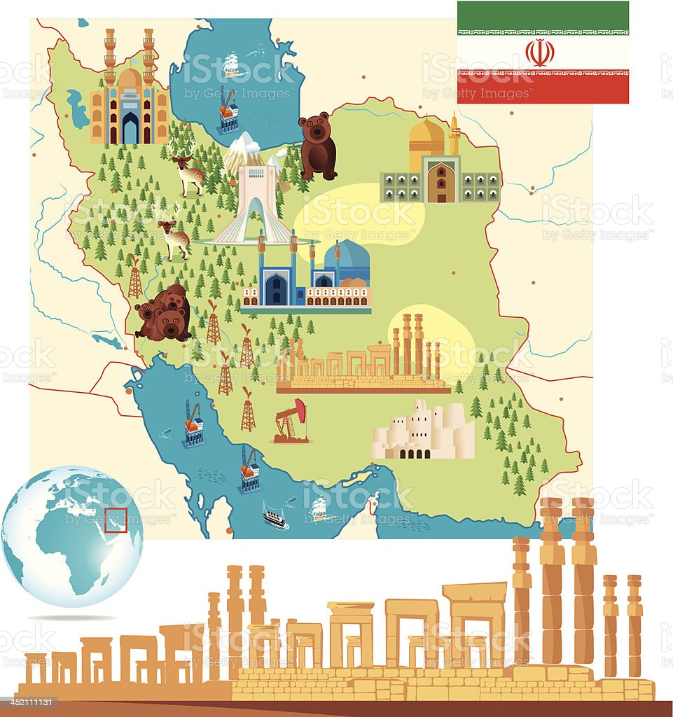 Iran Cartoon Map Stock Vector Art More Images of Bam 452111131