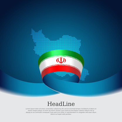 Iran flag and map background. State iranian patriotic banner, cover, business flyer. Wavy ribbon color flag of iran on a blue white background. National poster. Vector tricolor brochure design