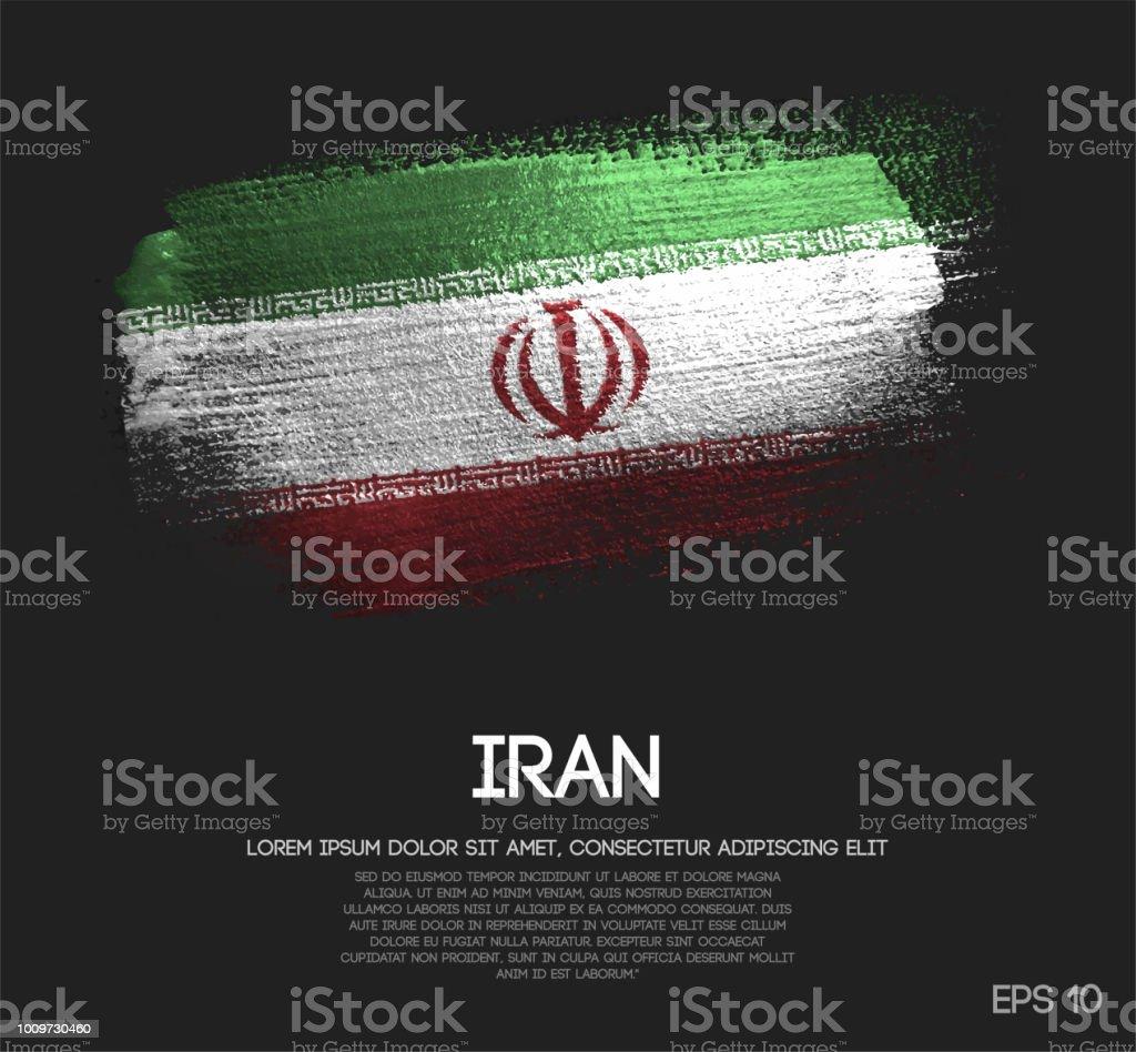 Bandeira do Irã feitas de Glitter Sparkle pincel tinta Vector - ilustração de arte em vetor