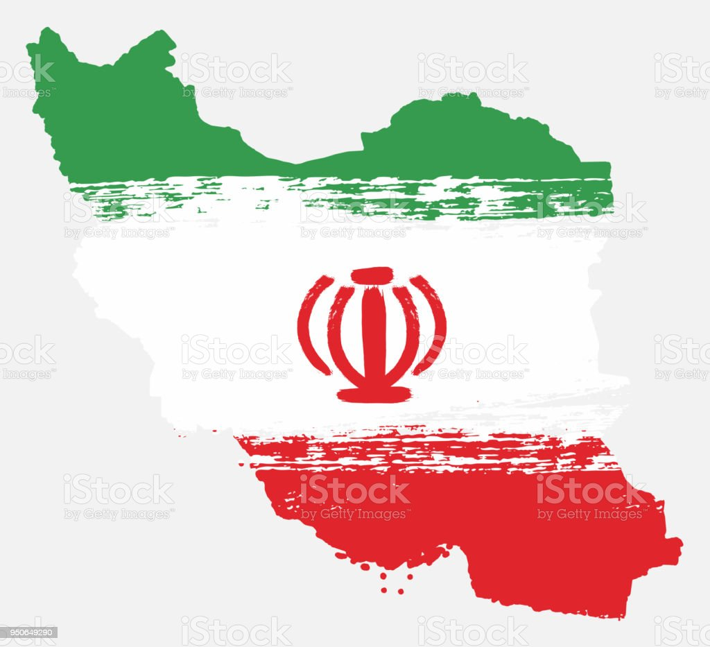 Iran Flag Map Vector Hand Painted With Rounded Brush Stock Vector
