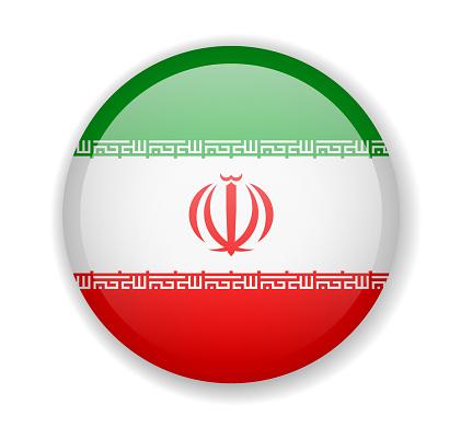 Iran flag round bright icon on a white background