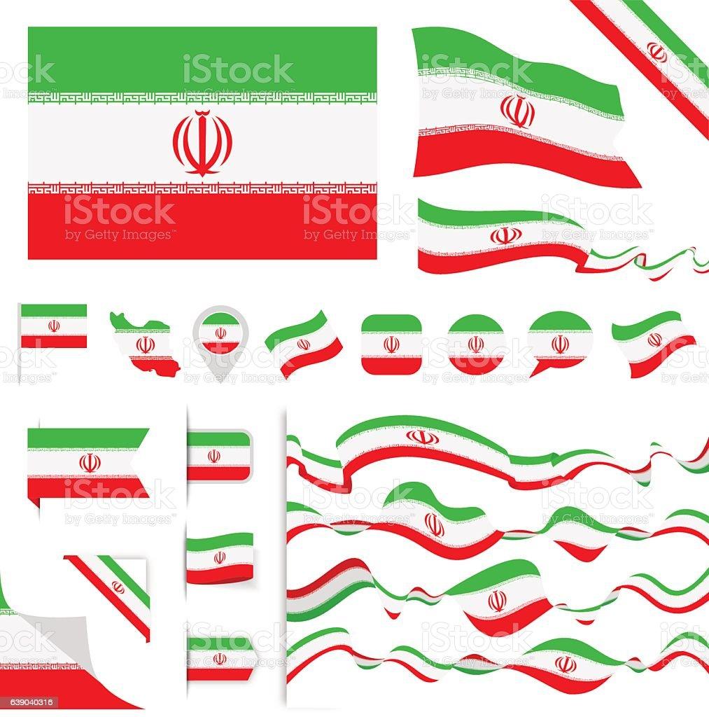 Iran Flag Set - ilustração de arte em vetor