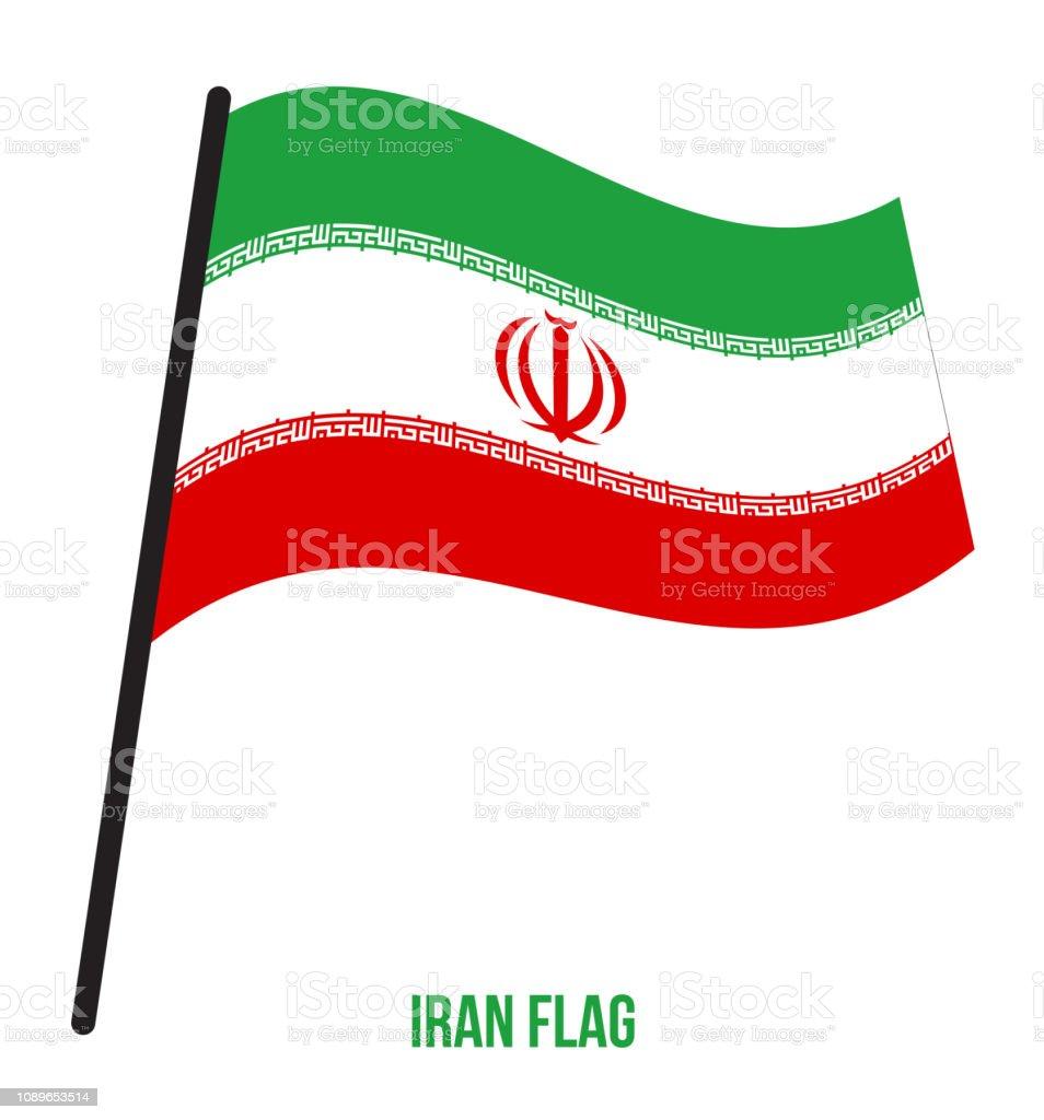 Irã bandeira acenando ilustração vetorial sobre fundo branco. Bandeira nacional do irão - ilustração de arte em vetor
