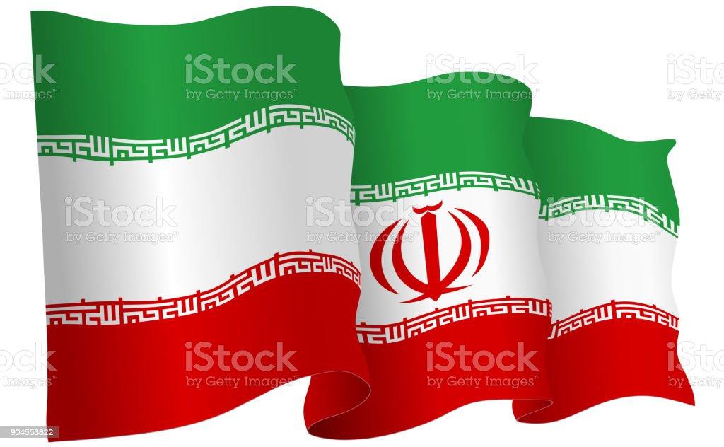 Ilustração em vetor Irã bandeira acenando - ilustração de arte em vetor