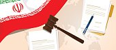Iran law constitution legal judgment justice legislation trial concept using flag gavel paper and pen