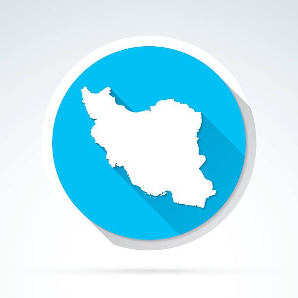 iran map icon flat design long shadow vector art illustration