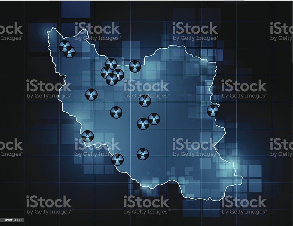 Iran map - nuclear sites vector art illustration