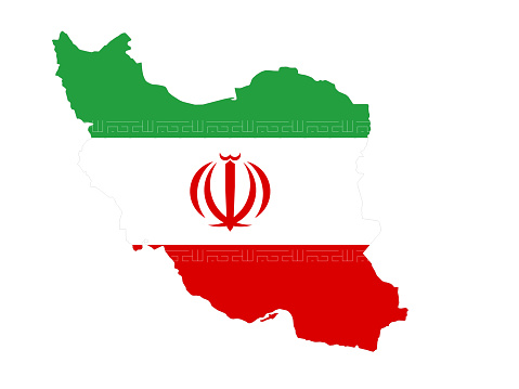 Iran map with flag