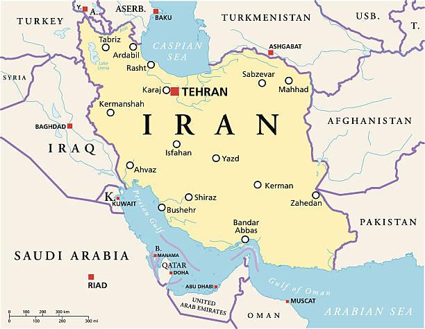 ilustraciones, imágenes clip art, dibujos animados e iconos de stock de mapa político de irán - mapa de oriente medio