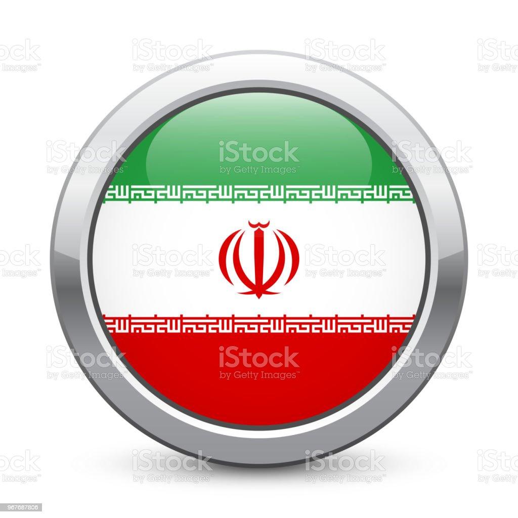 Iran Shiny Metallic Button With National Flag Iranian Symbol
