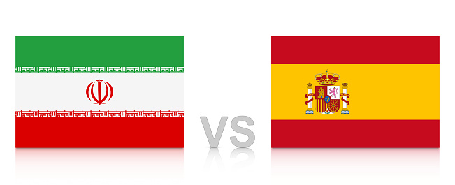 Iran vs. Spain. Russia 2018. National flags with reflection isolated on white background.
