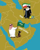 Iranian and Saudi Arab stand on the map. Middle East.