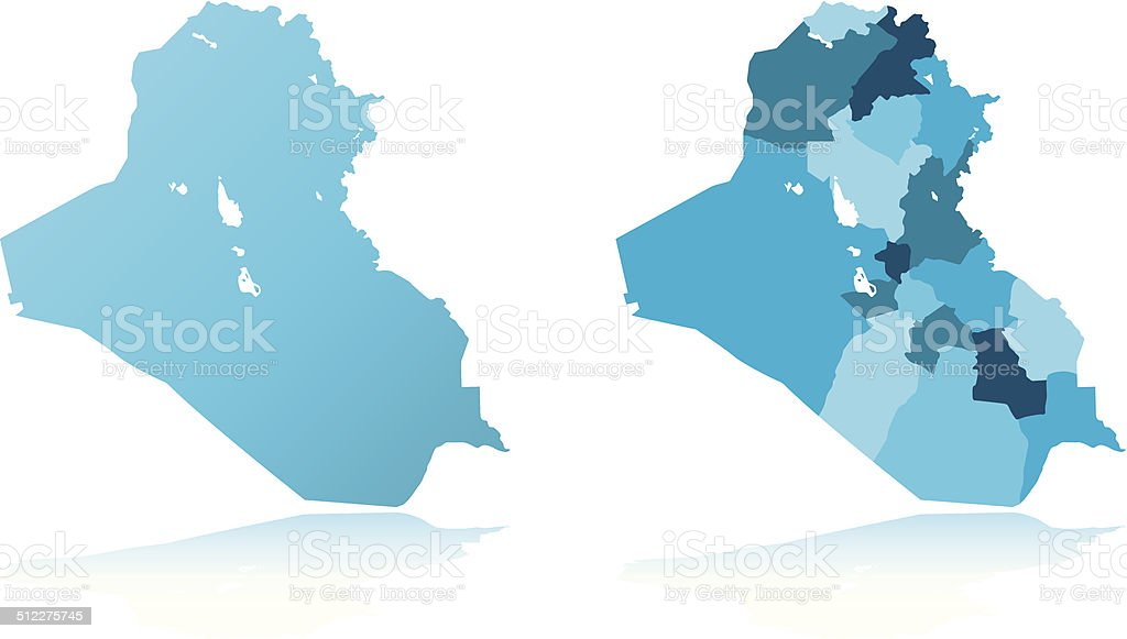 Iraq detailed map vector art illustration