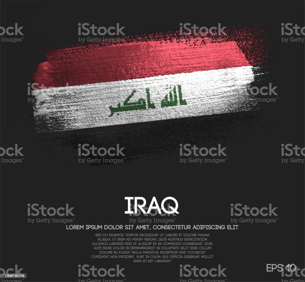 Iraq Flag Made of Glitter Sparkle Brush Paint Vector vector art illustration