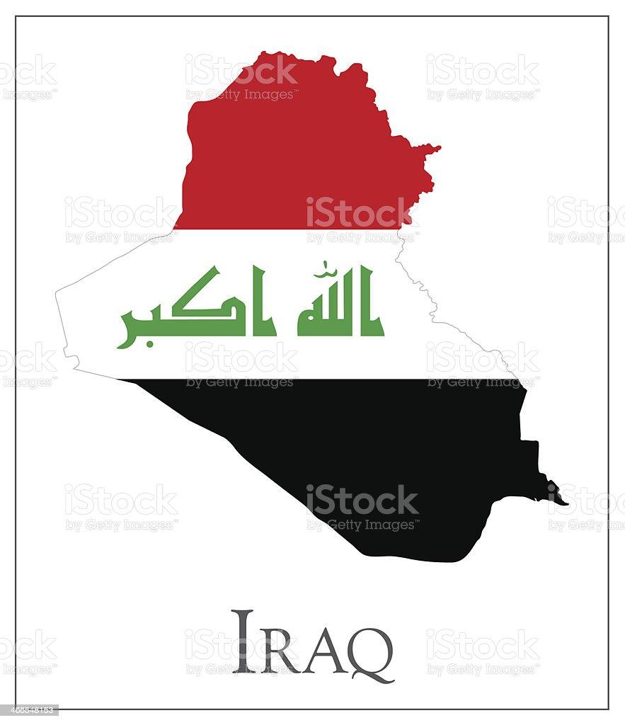 Iraq flag map vector art illustration