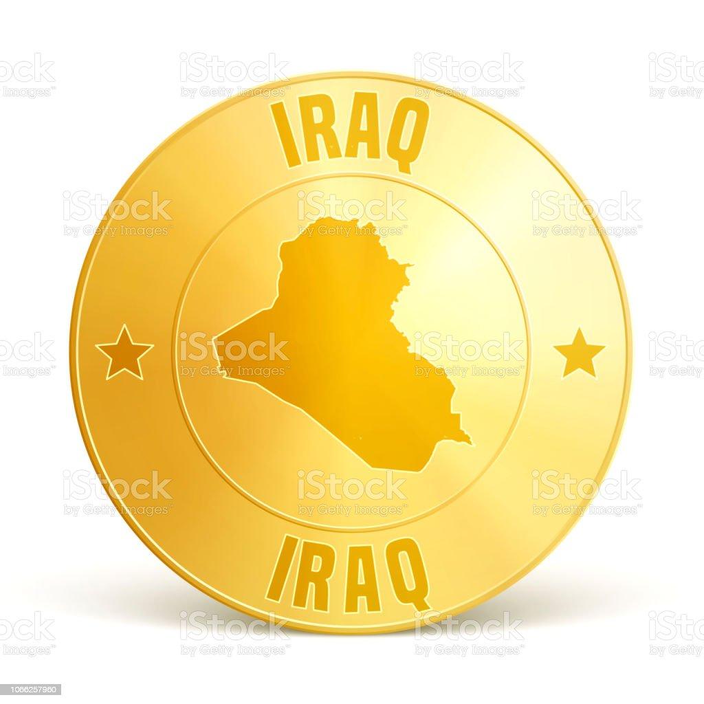 Iraq - Gold coin on white background vector art illustration