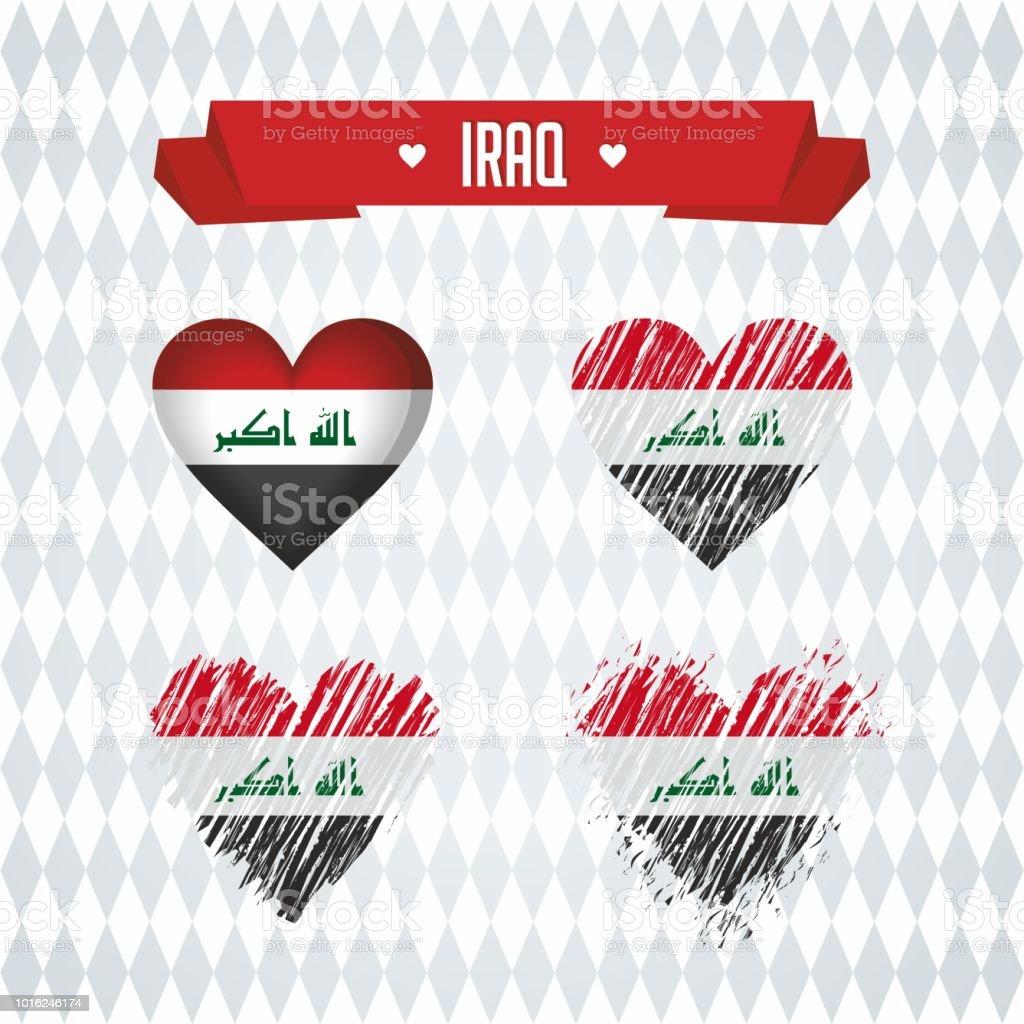 Iraq heart with flag inside. Grunge vector graphic symbols vector art illustration